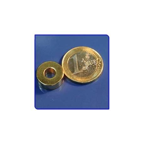 Imán de neodimio Ref. A03Au Anillo Acabado Oro D15D6x6mm