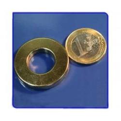 Imán de neodimio Ref. A04Au Anillo Acabado Oro D30D15x5mm