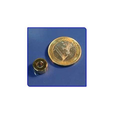 Imán de neodimio Ref. A02Au Anillo Acabado Oro D10D4x5mm Pack 10