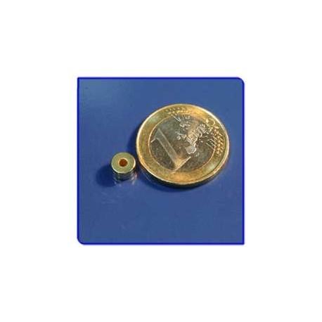 Imán de neodimio Ref. A01Au Anillo Acabado Oro D6D2x2mm Pack 25