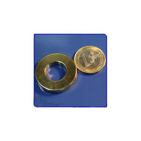 Imán de neodimio Ref. A04Au Anillo Acab Oro D30D15x5mm Pack 25