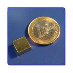 Imán de neodimio Ref. Bl03Au Bloque Acabado Oro 10x10x5mm Pack 10