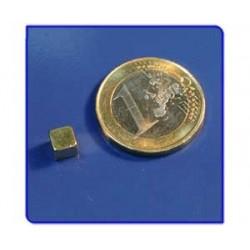 Imán de neodimio Ref. Bl01Au Bloque Acabado Oro 5x5x5mm Pack 25