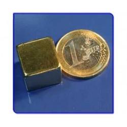 Imán de neodimio Ref. Bl05Au Bloque Acabado Oro 15x15x15m Pack 25