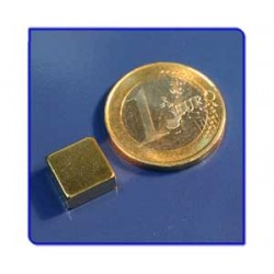 Imán de neodimio Ref. Bl03Au Bloque Acabado Oro 10x10x5mm Pack 50