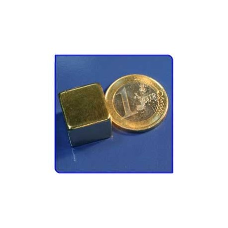 Imán de neodimio Ref. Bl05Au Bloque Acabado Oro 15x15x15m