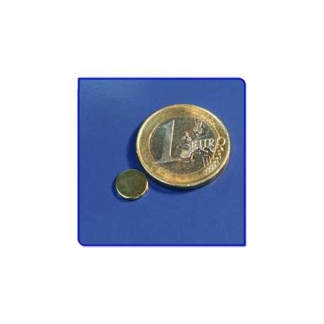 Imán de neodimio Ref. D03Au Disco Acabado Oro 8x1mm