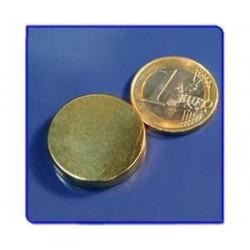 Imán de neodimio Ref. D09Au Disco Acabado Oro 25x5mm