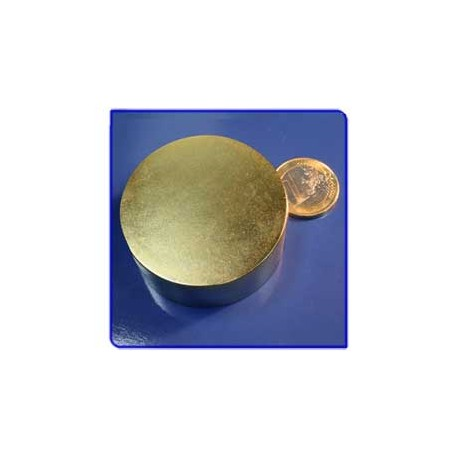 Imán de neodimio Ref. D13Au Disco Acabado Oro 50x20mm