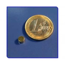 Imán de neodimio Ref. D01Au Disco Acabado Oro 5x3mm Pack
