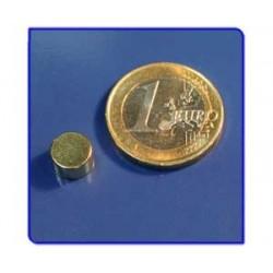 Imán de neodimio Ref. D04Au Disco Acabado Oro 8x5mm Pack 10