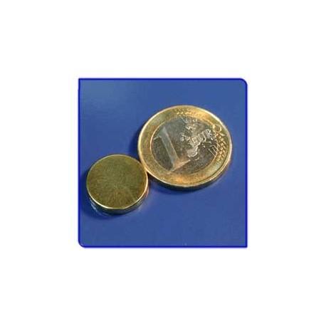 Imán de neodimio Ref. D07Au Disco Acabado Oro 15x3mm Pack 10