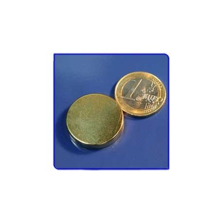 Imán de neodimio Ref. D09Au Disco Acabado Oro 25x5 mm Pack 10