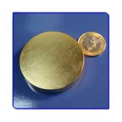 Imán de neodimio Ref. D12Au Disco Acabado Oro 50x10mm Pack 10