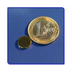 Imán de neodimio Ref. D05Au Disco Acabado Oro 10x2mm Pack 50