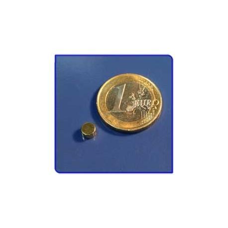 Imán de neodimio Ref. D01Au Disco Acabado Oro 5x3mm Pack 100