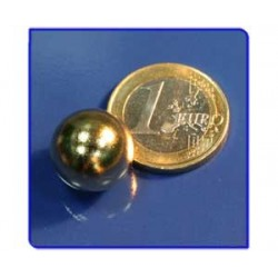 Imán de neodimio Ref. E03Au Esfera Acabado Oro D15mm Pack 25