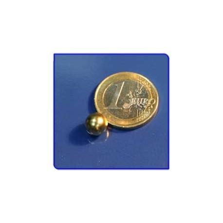 Imán de neodimio Ref. E02Au Esfera Acabado Oro D8mm