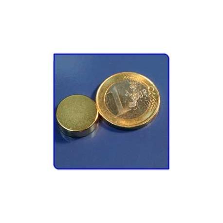 Imán de neodimio Ref. D08Au Disco Acabado Oro 15x5mm Pack 10