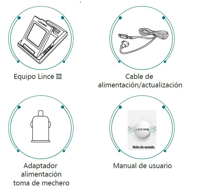 Avisador Lince III, contenido y accesorios