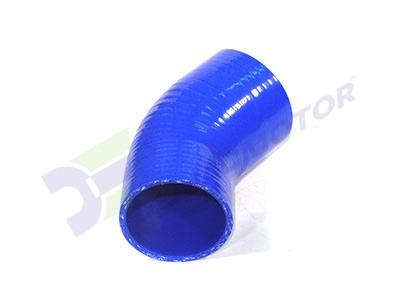 Imagen del codo en reducción de silicona en 45° de 76mm a 70mm de diámetro interno