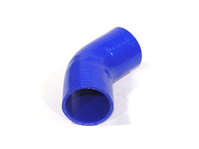 Imagen del codo en reducción de silicona en 45° de 76mm a 64mm de diámetro interno