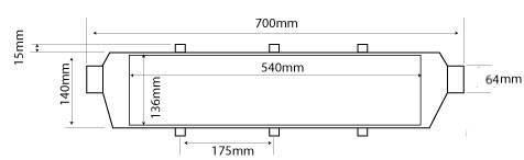 Medica Intercooler frontale FMIC universale 700x140x65